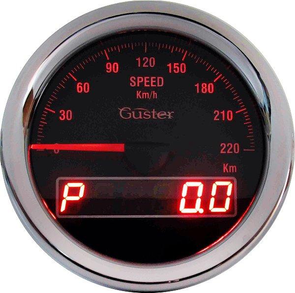 Velocímetro 85mm Eletrônico com Ponteiro e Odometro Digtal Total/Parcial - VO-31 Vermelho   Guster