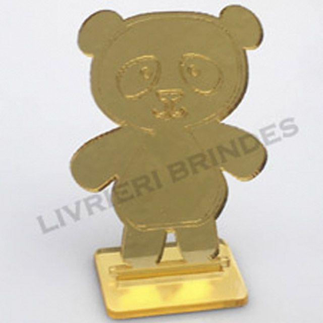 Aplique 5cm Acrílico Espelhado Panda Com Base