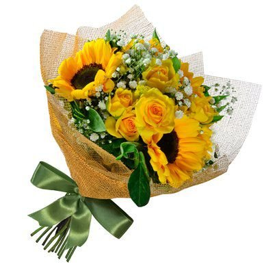 Buquê de Girassóis e Rosas Amarelas