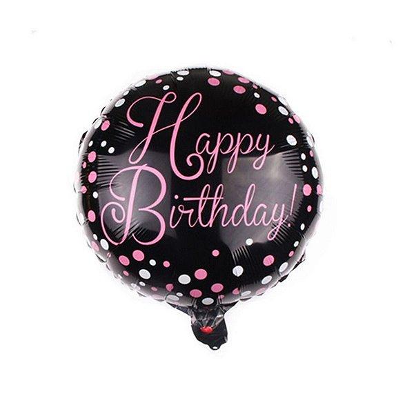 Balão Happy Birthday! Preto