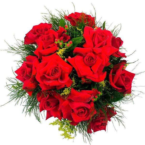 Buquê de 12 Rosas Vermelhas Colombianas