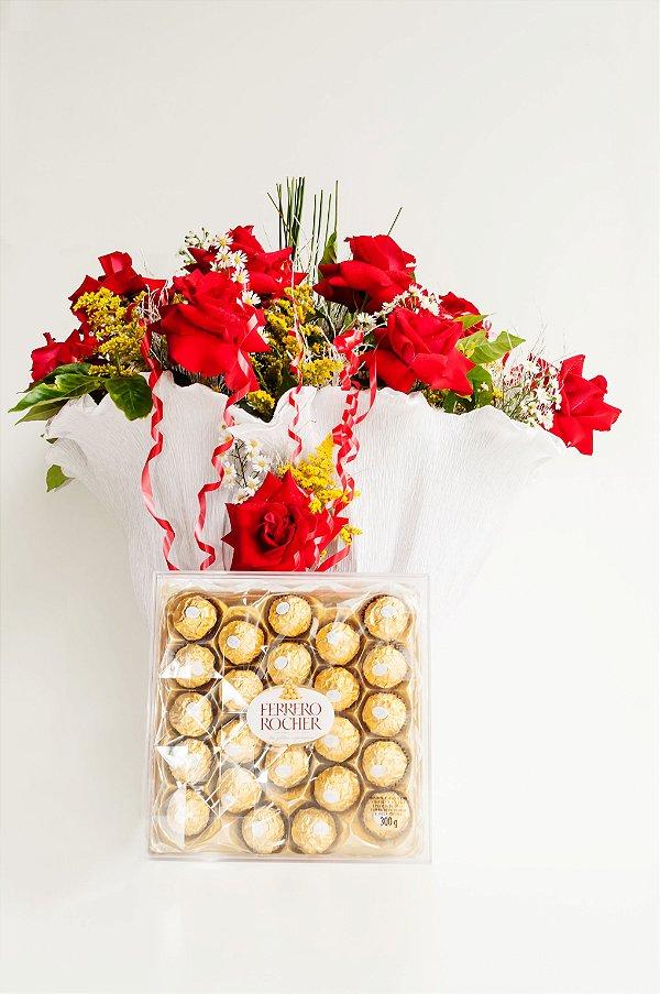 Buquê de Rosas Colombianas com Ferrero Rocher