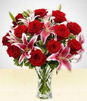 Luxuoso Vaso de Lírios com Rosas
