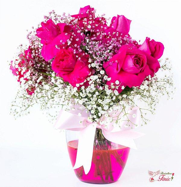 Luxuoso Arranjo de Rosas Pink