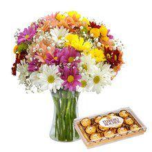 Luxuoso Vaso de Margaridas com Ferrero Rocher