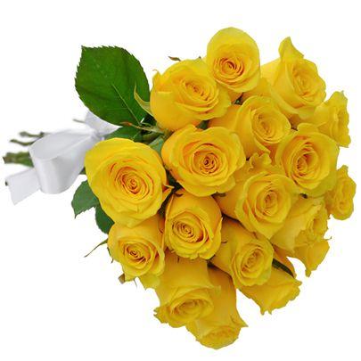 Buquê de 18 Rosas Amarelas Ouro