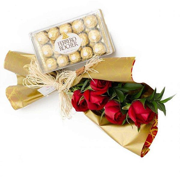 Buquê de Rosas com Ferrero Rocher