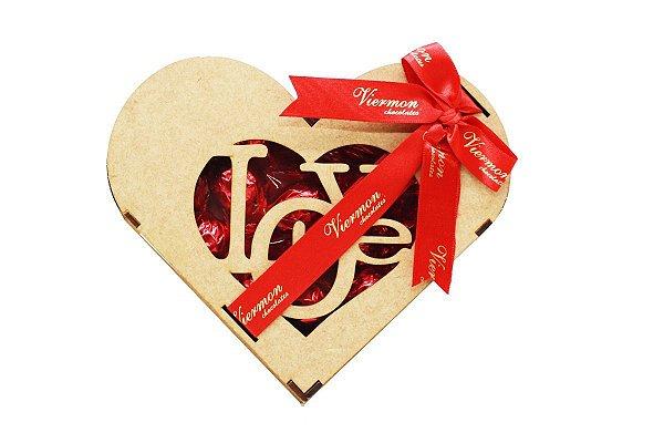 Coração de Bombons em Madeira Chocolate Viermon