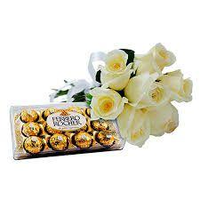 Buquê de Rosas Brancas com Ferrero Rocher