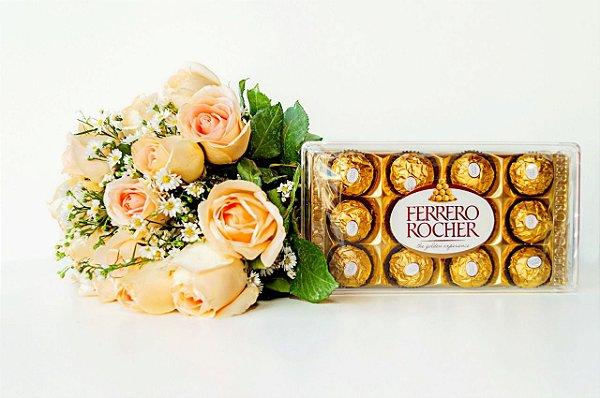 Surpresa de rosas champanhe com Ferrero Rocher