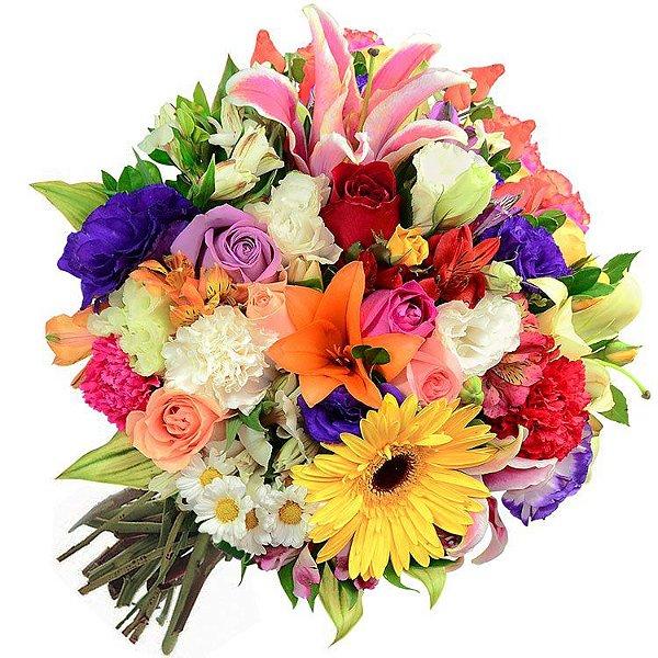 Buquê de flores nobres do campo coloridas