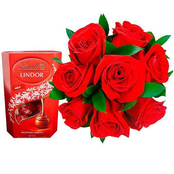 Buquê de 8  Rosas Premium com Chocolate Lindt