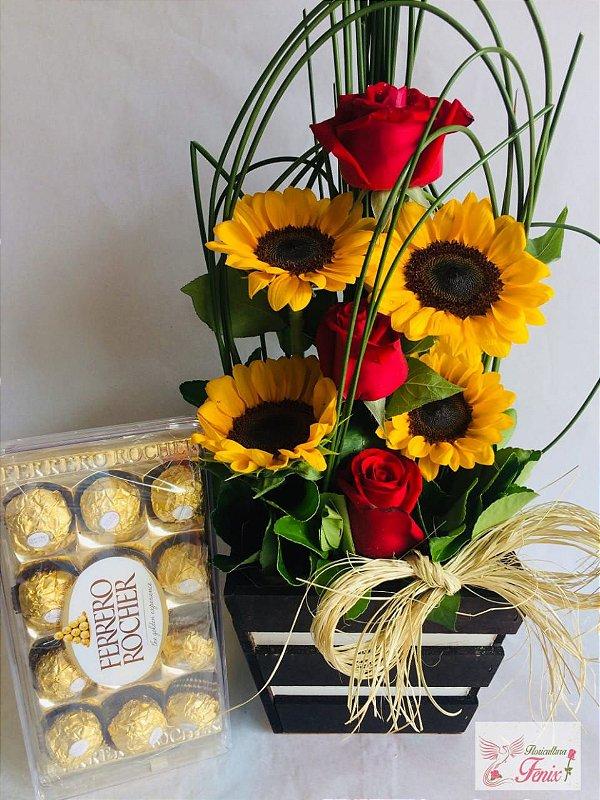 Arranjo de Girassol com Rosas e Ferrero Rocher