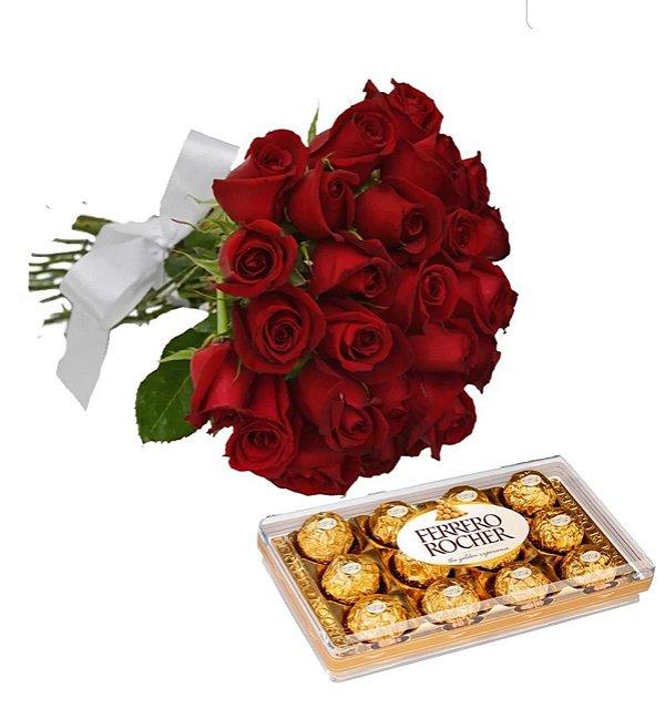 Buquê com 24 rosas com Ferrero Rocher