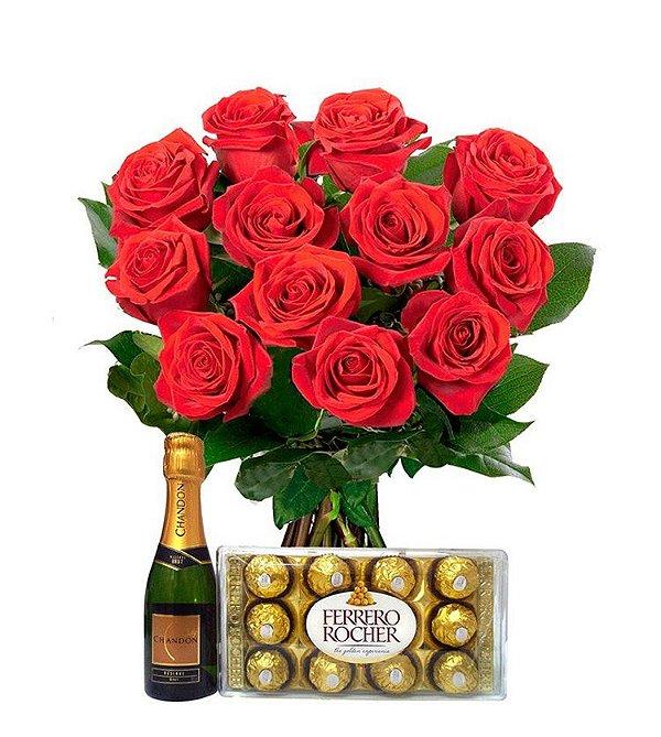 Buquê de 12 rosas vermelhas com Ferrero Rocher e Chandon