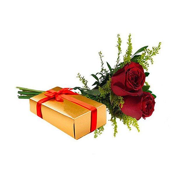 Buquê de 2 Rosas Vermelhas com Caixa de Bombom
