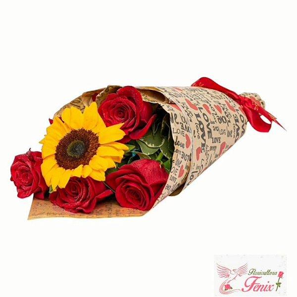 Buquê Love de Rosas com Girassóis