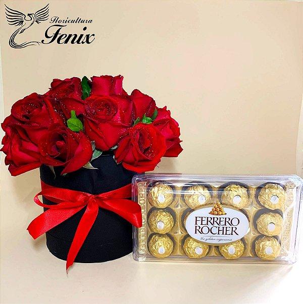 Luxuosa Box de Rosas Vermelhas com Ferrero Rocher