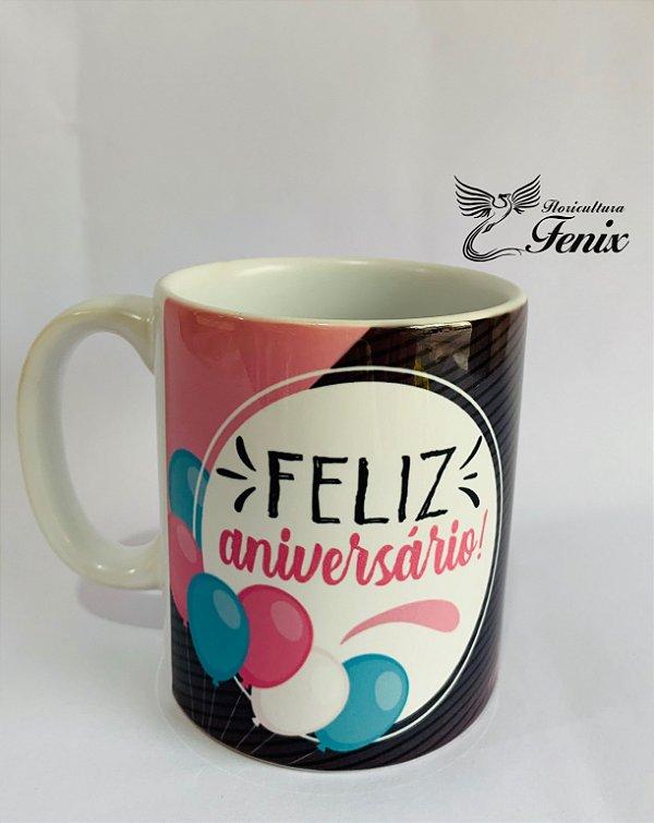 """Caneca de Porcelana """"Feliz aniversário"""""""