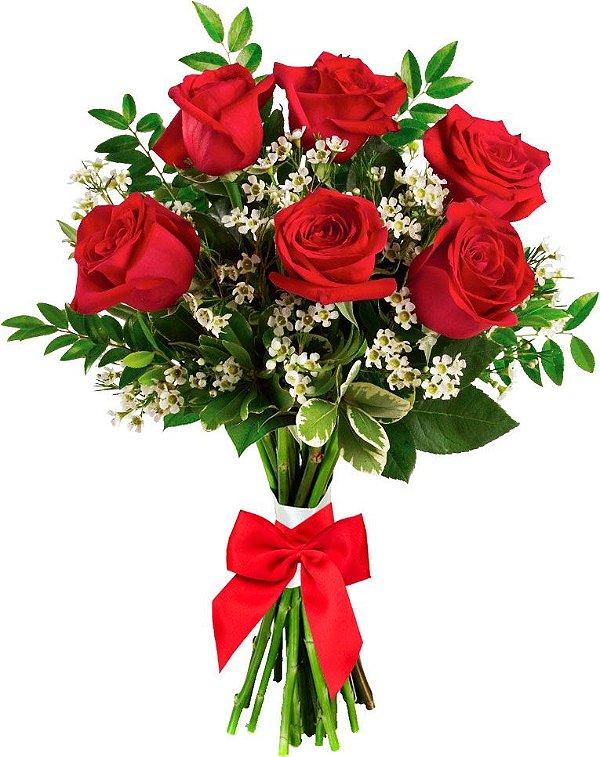 Buquê de 6 Rosas Vermelhas Colombianas