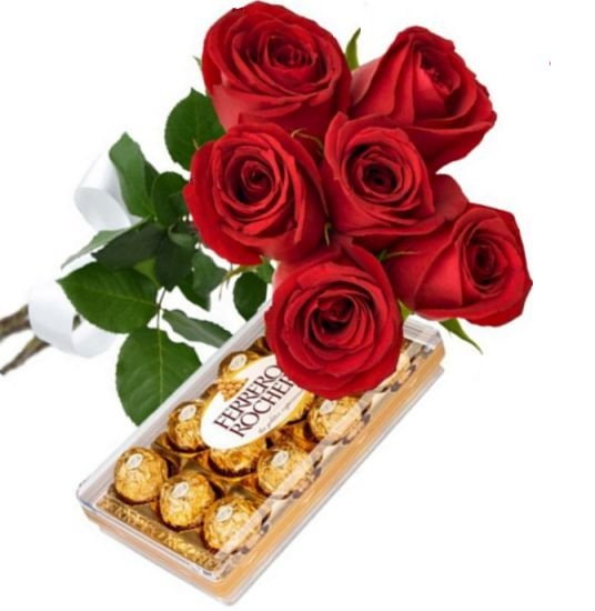 Buquê de 6 Rosas Vermelhas com Ferrero Rocher