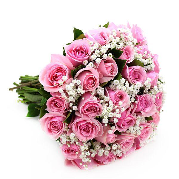 Buquê de 20 rosas cor de rosa ou pink com gipsofila