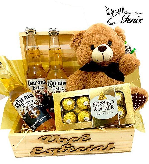 Baú Pequeno de Cerveja Corona Com Ferrero Rocher