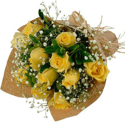 Buquê de Rosas Amarelas no Papel Kraft