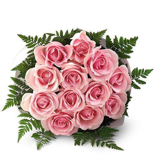 Buquê de 12 rosas cor de rosa