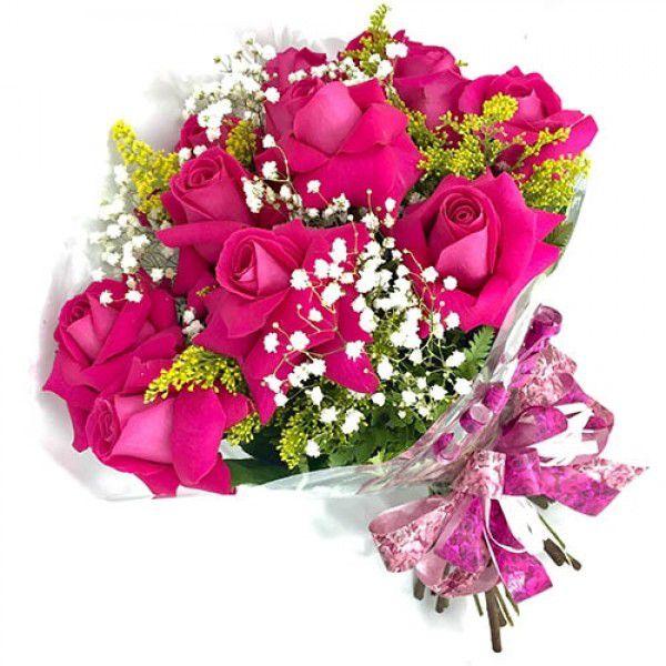 Buquê de 12 rosas premium pink