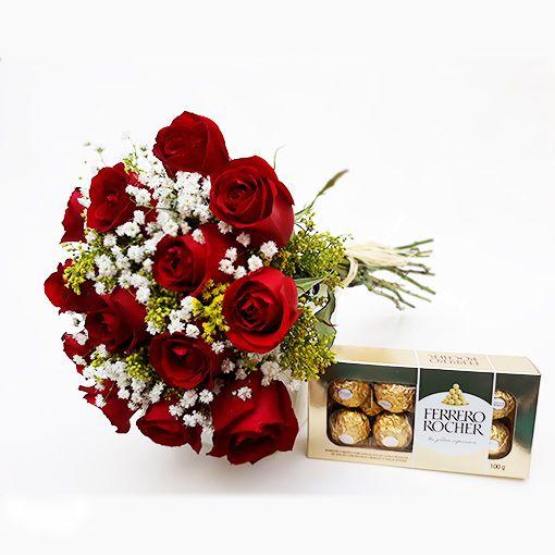 Buquê tradicional de 12 rosas com Ferrero Rocher  100g