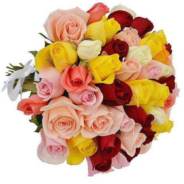 Buquê de 50 rosas coloridas