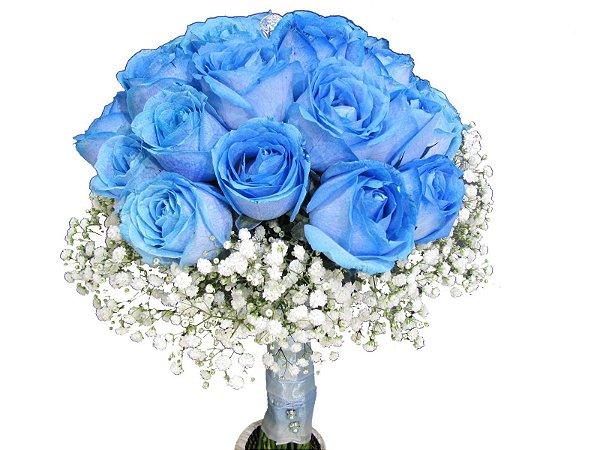 Encanto Buquê de Rosas Azuis