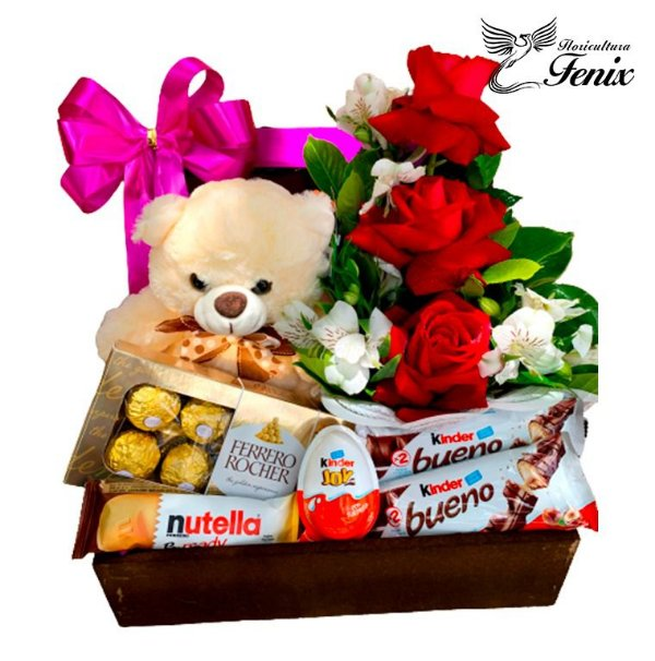 """Baú romântico """"Flores & Chocolates"""""""