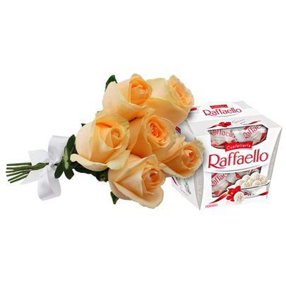 Buquê de 6 Rosas Champanhe e Rafaello