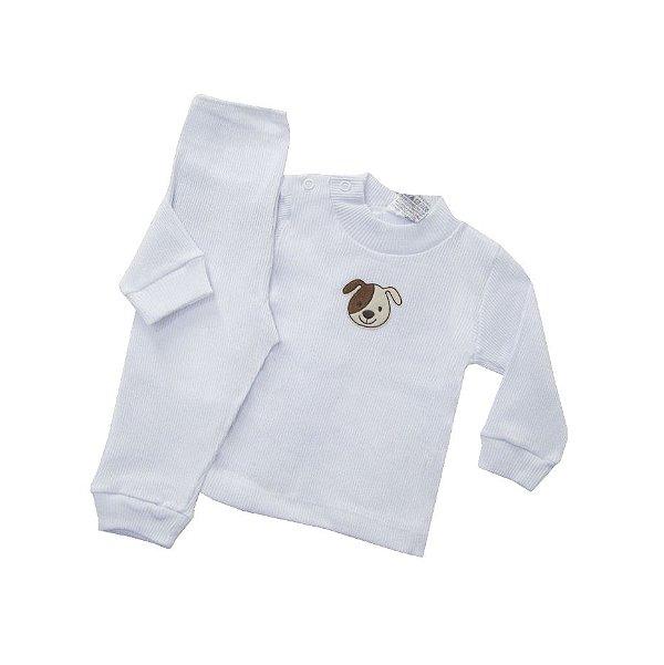 Pijama Canelado  Branco com Patch