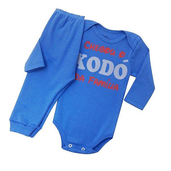 Conjunto Body com Calça Culote Cor Azul - Frases Chegou o Xodó