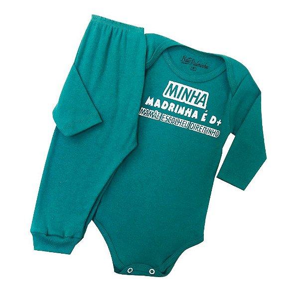 Conjunto Body com Calça Culote Cor Verde-Frase Minha Madrinha É D+