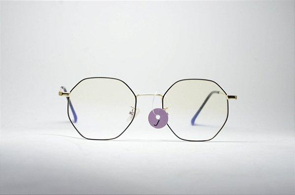 Óculos feminino ou masculino grande metal fino redondo dourado e preto  modinha a340432f26