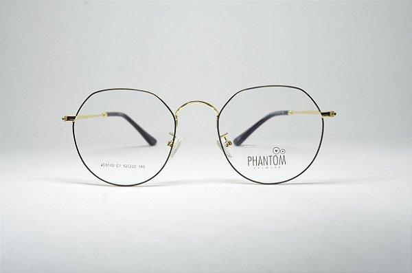 Óculos feminino grande metal fino redondo gatinho prateado e preto moda  feminina 9689ea97eb