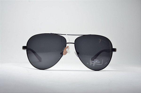 a1654ac761699 Óculos de sol masculino redondo grande metal fino aviador preto lente  espelhada polarizada e proteção UV400