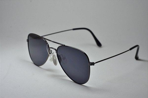 4ff46e6ed51c7 Óculos de sol aviador masculino redondo grande fino metal preto proteção  UV400 lente espelhada moda masculina