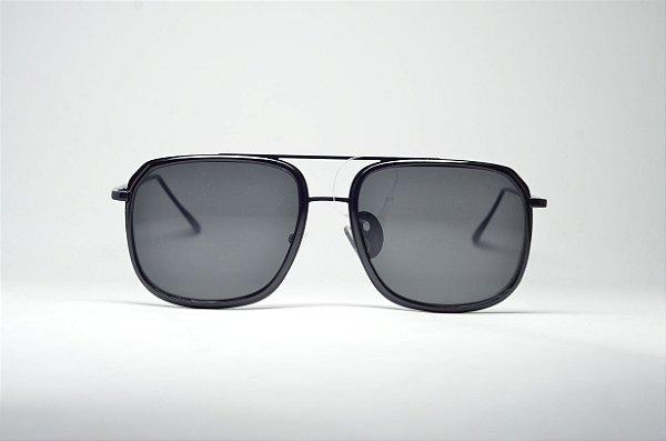 3babee1e99e5a Óculos de sol preto masculino redondo grande metal fino proteção UV400  lente espelhada moda Phantom