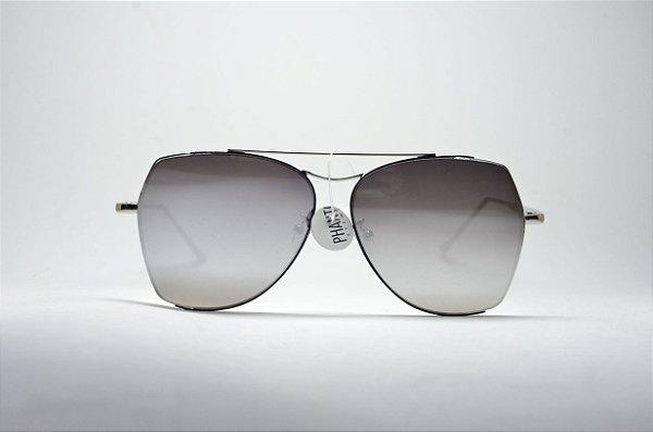 Óculos de sol feminino dourado grande redondo fino metal proteção UV400  lente espelhada moda feminina 5317b95f32
