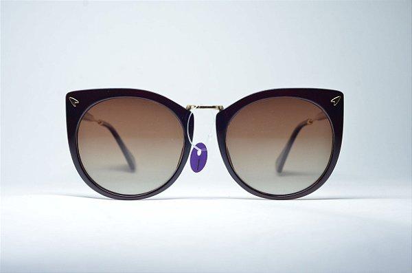 Óculos de sol feminino preto e dourado gatinho retro redondo metal proteção  UV400 lente espelhada moda 36ea9ee066