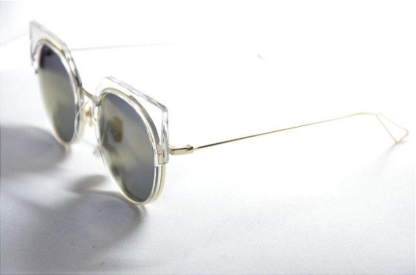 Óculos de sol feminino redondo metal dourado e transparente gatinho proteção  UV400 lente espelhada moda feminina 60f7a4cc5c