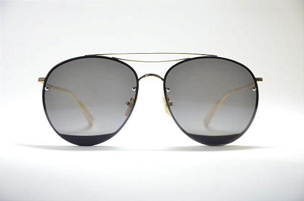 Óculos de sol feminino dourado grande redondo metal proteção UV400 lente  preta espelhada moda Phantom 5158a7a638