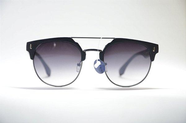 421fcaae9d450 Óculos de sol feminino redondo metal fino textura preta lente espelhada  preta proteção UV400 moda Feminina