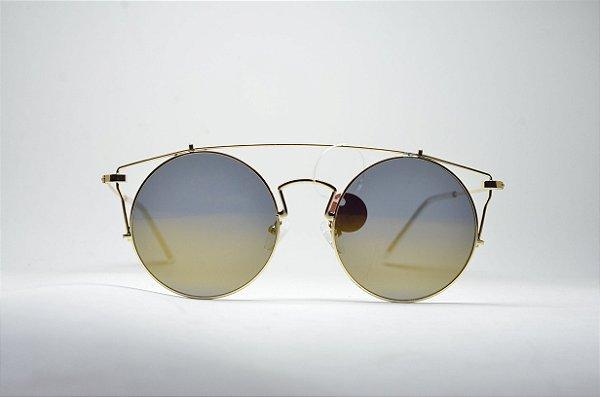 40ae32d4416ae Óculos de sol feminino dourado corujinha metal redondo grande lente  espelhada proteção UV400