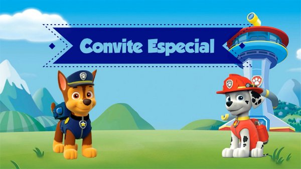 Convite Animado Vídeo Patrulha Canina